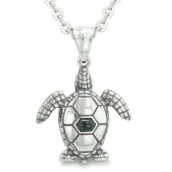 Amulet Sea Turtle Cute Simulated Black Onyx Crystal Pendant 22 Inch Necklace