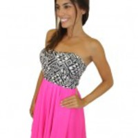 Fuchsia Short Dress with Printed Top - Donna