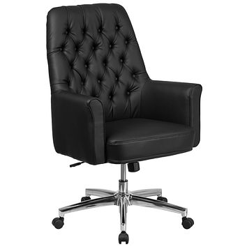 Mid-Back Traditional Tufted Executive Swivel Chair with Arms