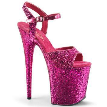 Hot Pink 8 Inch Heels Glitter Ankle Strap Sandal Stripper Shoes
