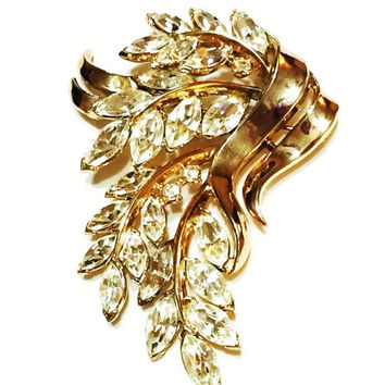 ON SALE Vintage Trifari Rhinestone Brooch, Clear Navettes, Goldtone, Flower Motif, 1950s, Wedding Jewelry, Mother's Day Gift