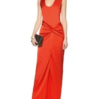 Red Long Twist Dress | Cédric Charlier | Avenue32