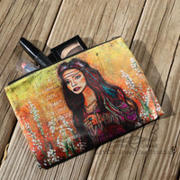 Bohemian Art Zippered Cosmetic Bag - Gypsy Makeup Bag - Zippered Pouch