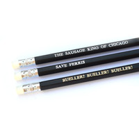 FERRIS BUELLER'S Day Off pack of 3 black stamped pencils.