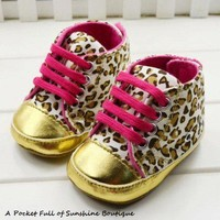 HIGH FASHION LEOPARD BABY SHOES HOT PINK