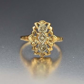 Art Deco 14K Gold Diamond Ring with Hearts