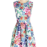 ModCloth Mid-length Sleeveless A-line Watercolor Me Happy Dress