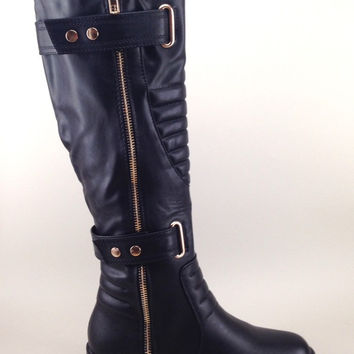 Black Vegan Leather Boots with Chunky Heel and Quilt Design
