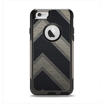 The Two-Toned Dark Black Wide Chevron Pattern Apple iPhone 6 Otterbox Commuter Case Skin Set
