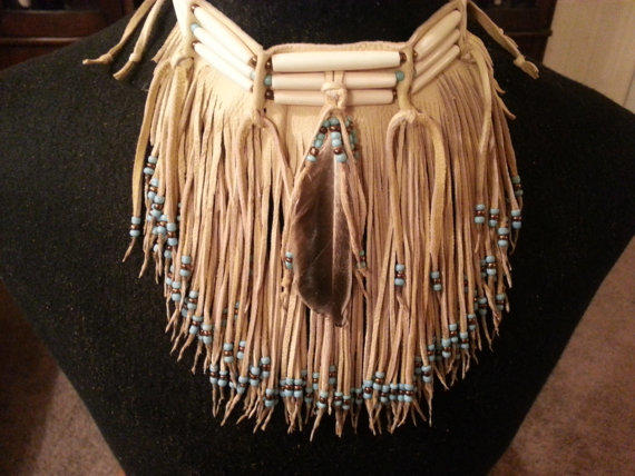 Native American Leather Fringed Choker From