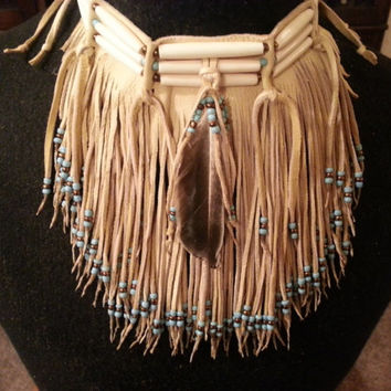 Native American leather fringed choker ( Pre - order only )
