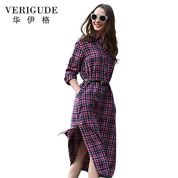 Veri Gude Long Plaid Shirt Dress Long Sleeve Women Cotton Long Shirtdress for Autumn Side Slit Women's dress plus size S-XXL