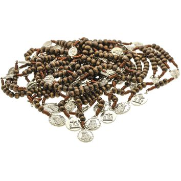 10 Brown Cord Wood 7 Sorrows Rosary Beads & 10 Prayer Booklets