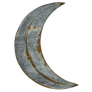"Rustic Galvanized Distressed 20"" Moon Sign"