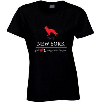 This New York Girl Loves Her German Shepard T-shirt Print T Shirt Women Hipster Harajuku Round Neck Interesting Top Tee