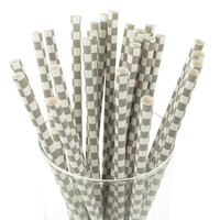 Race Car Checkered Paper Straws, 7-3/4-inch, 25-pack, Silver