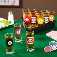 Rack Em Up Billiards Shot Glass Set