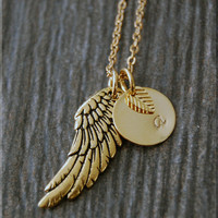 Gold Angel Wing Charm Necklace, Initial Charm Necklace, Personalized, Feathered Wing Charm, Angel Pendant, Angel Wing Jewelry