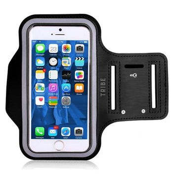 LMFGQ6 Water Resistant Cell Phone Armband: 5.2 Inch Case for iPhone 8, 7, 6, 6S, SE, 5, 5C, 5S, and Galaxy S5, Google Pixel - Adjustable Reflective Velcro Workout Band, Key Holder & Screen Protector