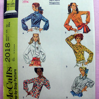 Vintage 1960's Blouse Set Long Sleeves Misses' Size 10 McCall's 2018 Sewing Pattern Uncut