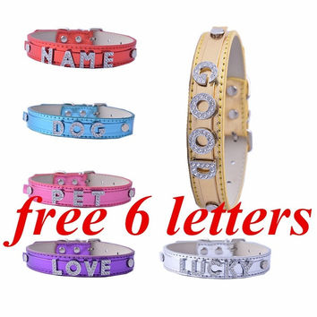 Personalized Name Dog Collar DIY Pet Supplies Free 6 Slider Letters For Pet's Name (Leave us Message about your Pet's Name) = 1929596932