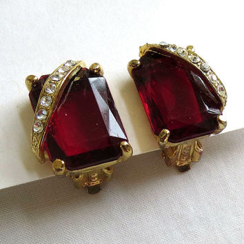 Vintage Red Cut Glass and Clear Rhinestone Clip Earrings