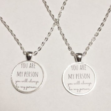 You Are My Person You're My Person Best Friends Sisters Friend Necklace Set
