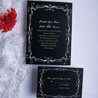 Classy White and Black wedding invitation cards - Invitate with matching envelope - Response card with matching envelope EWI014