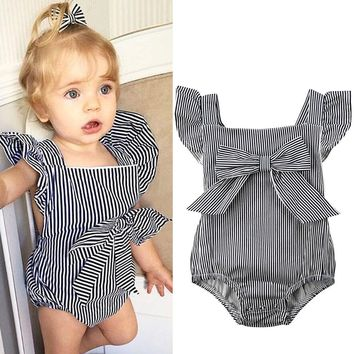 Summer Newborn Toddler Baby Girl Striped Romper Jumpsuit Outfits Sunsuit Clothes