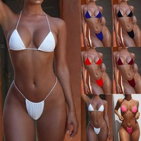 Women's Strap Three-Piece Bikini summer 2019 Sexy Brazilian Hot Swimsuit Solid Color Two-Piece Set With chest pad #YL