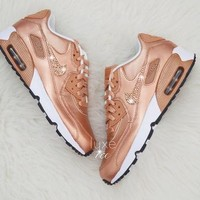 Nike Air Max 90 SE Leather Shoes Made with SWAROVSKI? Crystals - White/Metallic Rose G
