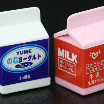 White and Pink Yume Milk Carton Eraser
