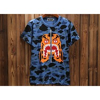 Bape 2018 new couple tiger head print full camouflage T-shirt F-A-KSFZ Blue