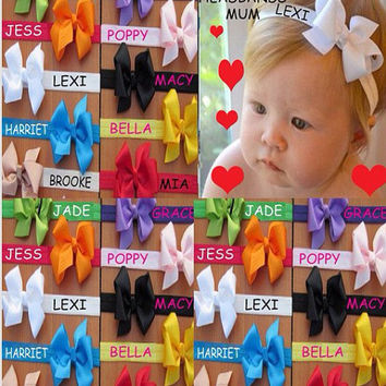 Personalised Headband x 2 with bow 0-6m to 5yrs ANY NAME