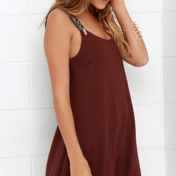 Tribute to Perfection Maroon Beaded Dress