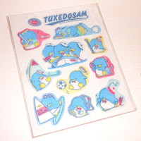 TUXEDOSAM 1986 Sanrio Japan - Vintage beautiful rubber puffy sticker set sealed mint rare