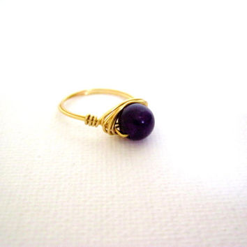 Purple Jade wire wrapped gold ring, womens ring, simple ring, beaded ring, solitaire ring, dark purple ring, minimalist ring, size 7