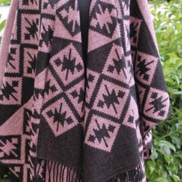EXPRESS SHIPPING ! Brown Poncho Wool Blend Brown Blanket Shawl Wrap Cape Brown Tribal Outerwear Brown Women Coat Aztec Poncho Brown OUTWEAR