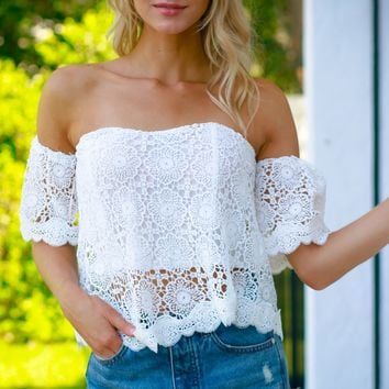 Off The Shoulder Crochet Top White