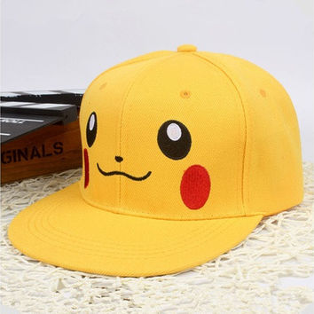 Hot Fashion Anime Pokemon Go Team Hat Pikachu Character Baseball Caps Adults Hip Hop Cap (Color: Yellow) [10584112271]