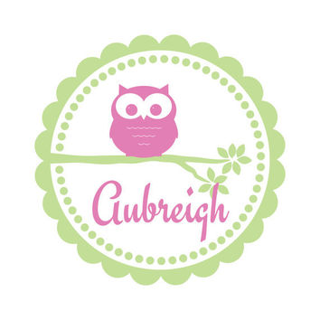 Owl Wall Decal With Scallop and Polka Dot Frame Personalized With Baby Name For Baby Nursery Or Girls Room Vinyl Wall Art 22H x 22W GN047