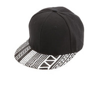 TRIBAL PRINT BRIM BASEBALL CAP