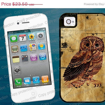 SALE Vintage owl, cute 2 piece rubber lining iPhone case, iPhone 5 case - Made in USA  iPhone 4 hard case, iPhone cover, iPhone hard case