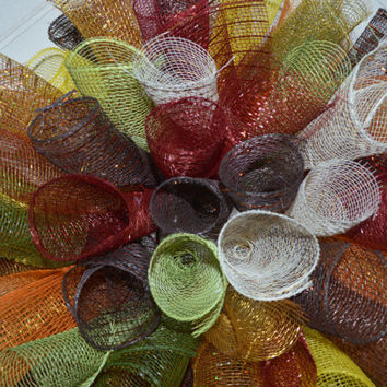 Autumn Fall Ribbon Mesh Wreath - Thanksgiving