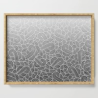 Faded black and white swirls doodles Serving Tray by savousepate
