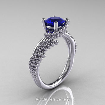 Nature Inspired 14K White Gold 1.0 Ct Blue Sapphire Sea Engagement Ring R399-14KWGBS