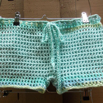 Crochet Mesh Shorts - Women Boy Shorts - Open Weave - Cover up - Summer - Beach - Vacation