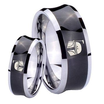 His Her Black Concave Star Wars Boba Fett Sci Fi Science Two Tone Tungsten Wedding Rings Set