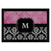 Black and Deep Pink Damask Monogram Cutting Board