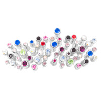 50 Mixed Labret Monroe Piercing Studs - Assorted CZ Gem Colors and Sizes - 316L Surgical Steel